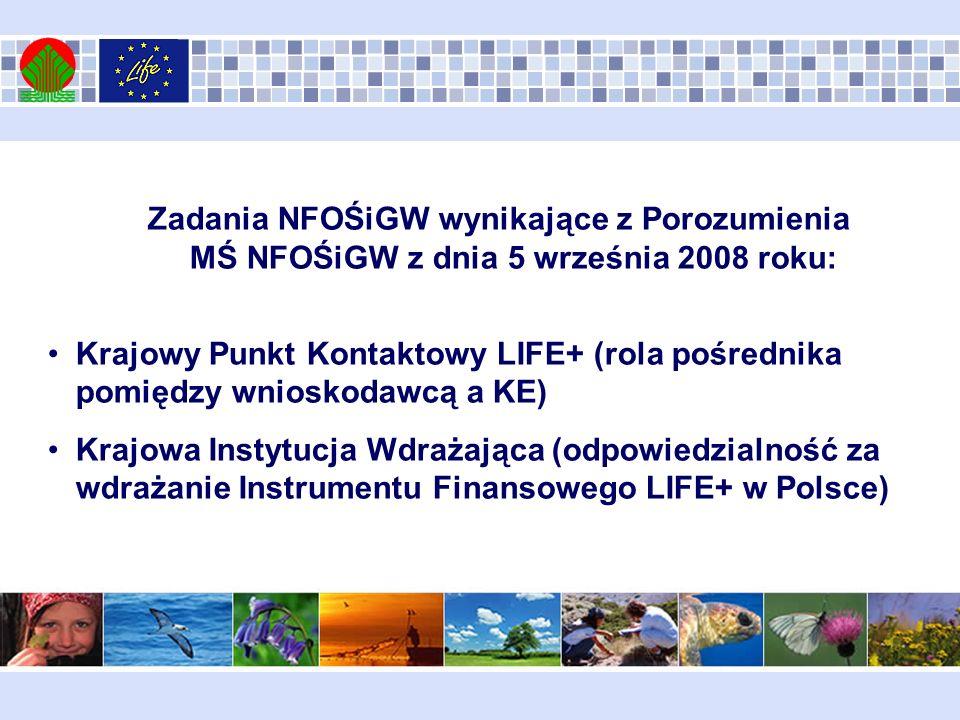 Zadania NFOŚiGW wynikające z Porozumienia MŚ NFOŚiGW z dnia 5 września 2008 roku: