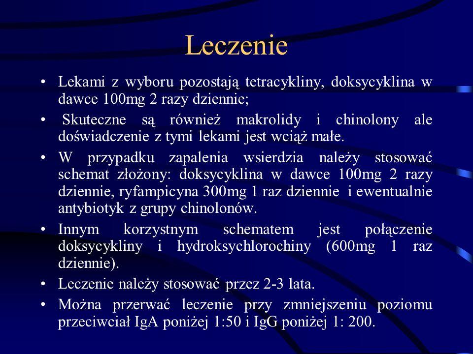 Leczenie Lekami z wyboru pozostają tetracykliny, doksycyklina w dawce 100mg 2 razy dziennie;