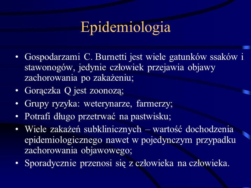 EpidemiologiaGospodarzami C. Burnetti jest wiele gatunków ssaków i stawonogów, jedynie człowiek przejawia objawy zachorowania po zakażeniu;