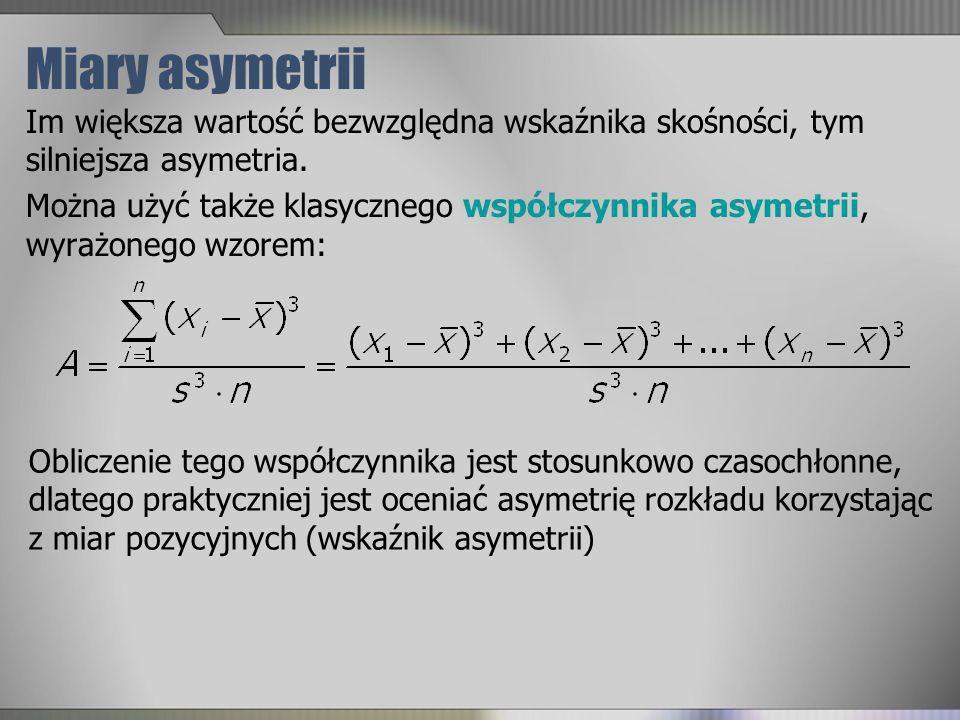 Miary asymetrii Im większa wartość bezwzględna wskaźnika skośności, tym silniejsza asymetria.