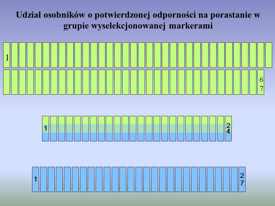 Udział osobników o potwierdzonej odporności na porastanie w grupie wyselekcjonowanej markerami