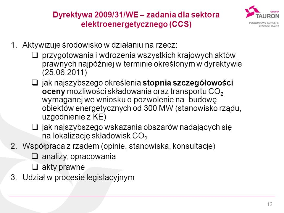 Dyrektywa 2009/31/WE – zadania dla sektora elektroenergetycznego (CCS)