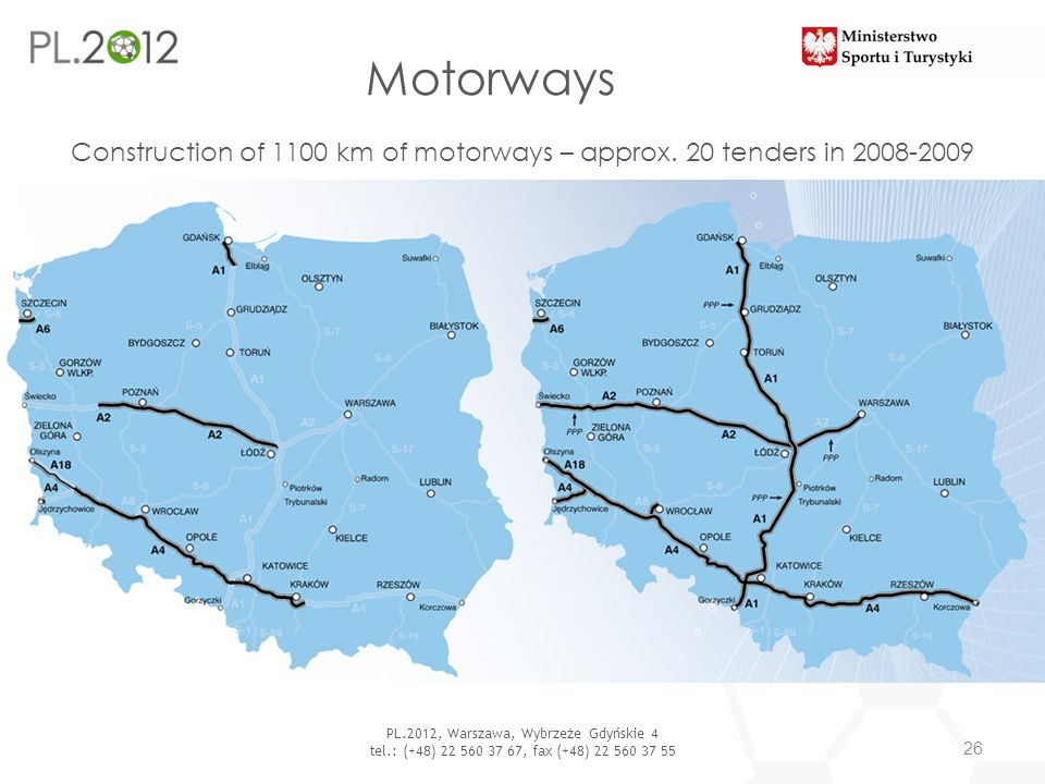Motorways Construction of 1100 km of motorways – approx. 20 tenders in 2008-2009. PL.2012, Warszawa, Wybrzeże Gdyńskie 4.