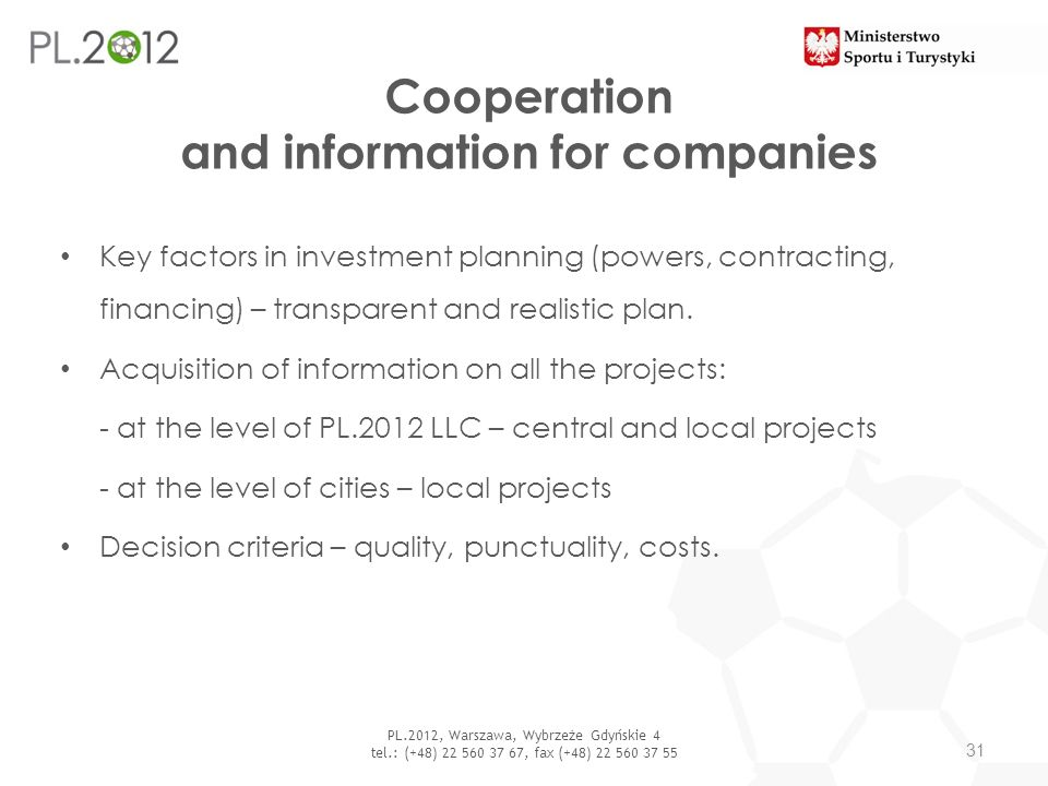 Cooperation and information for companies