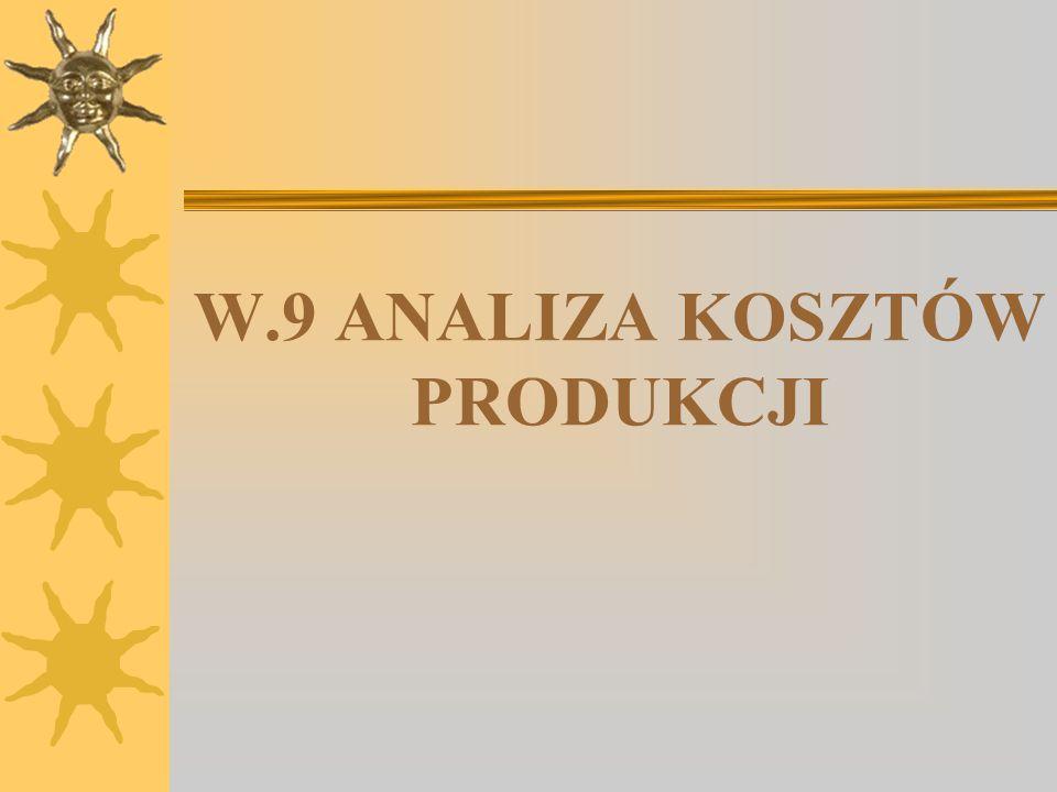 W.9 ANALIZA KOSZTÓW PRODUKCJI