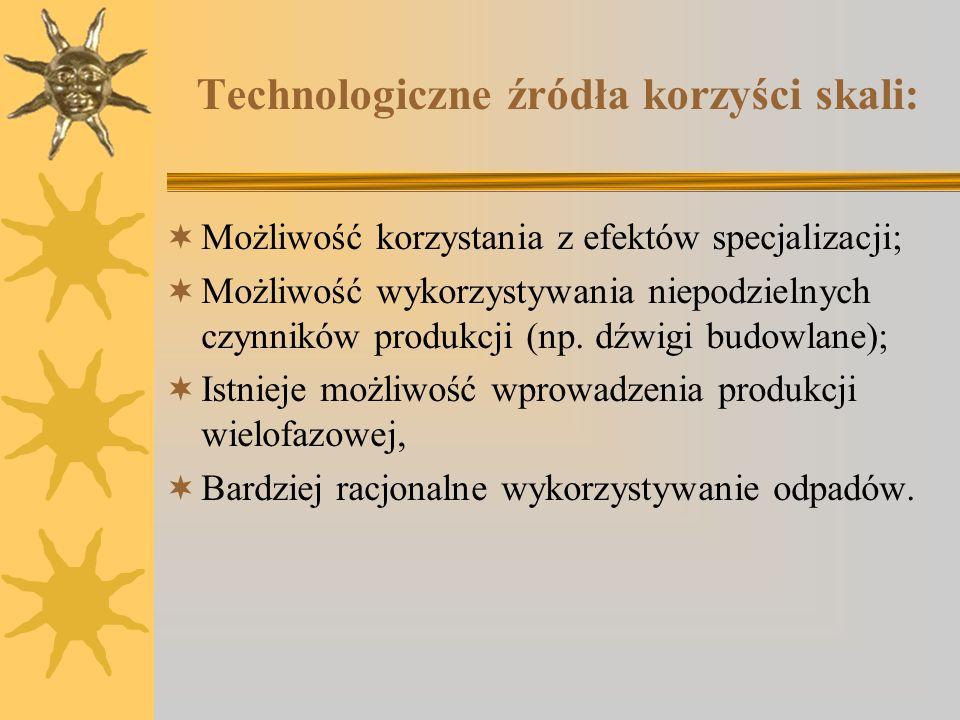 Technologiczne źródła korzyści skali: