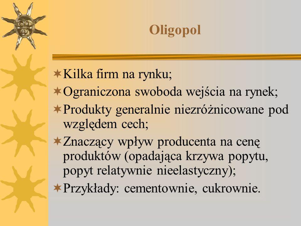 Oligopol Kilka firm na rynku; Ograniczona swoboda wejścia na rynek;