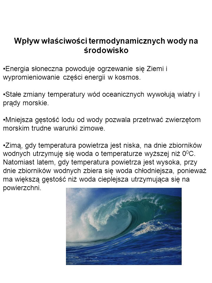 Wpływ właściwości termodynamicznych wody na środowisko