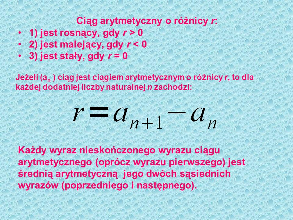 Ciąg arytmetyczny o różnicy r: