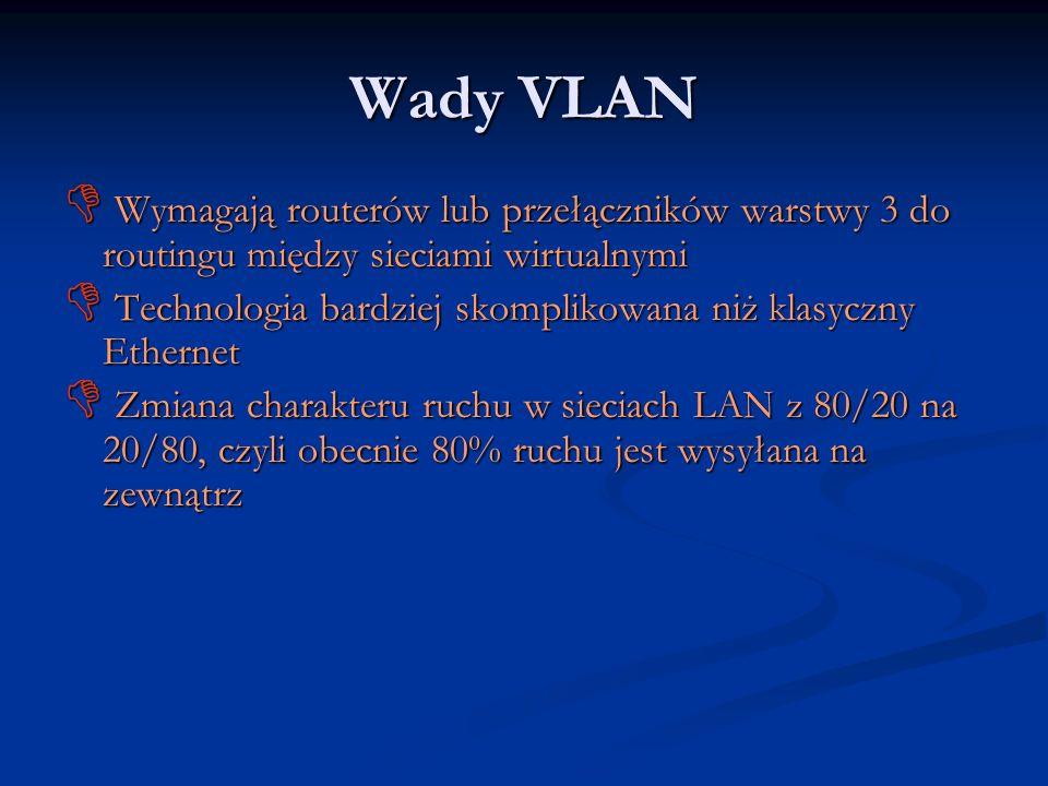 Wady VLAN Wymagają routerów lub przełączników warstwy 3 do routingu między sieciami wirtualnymi.