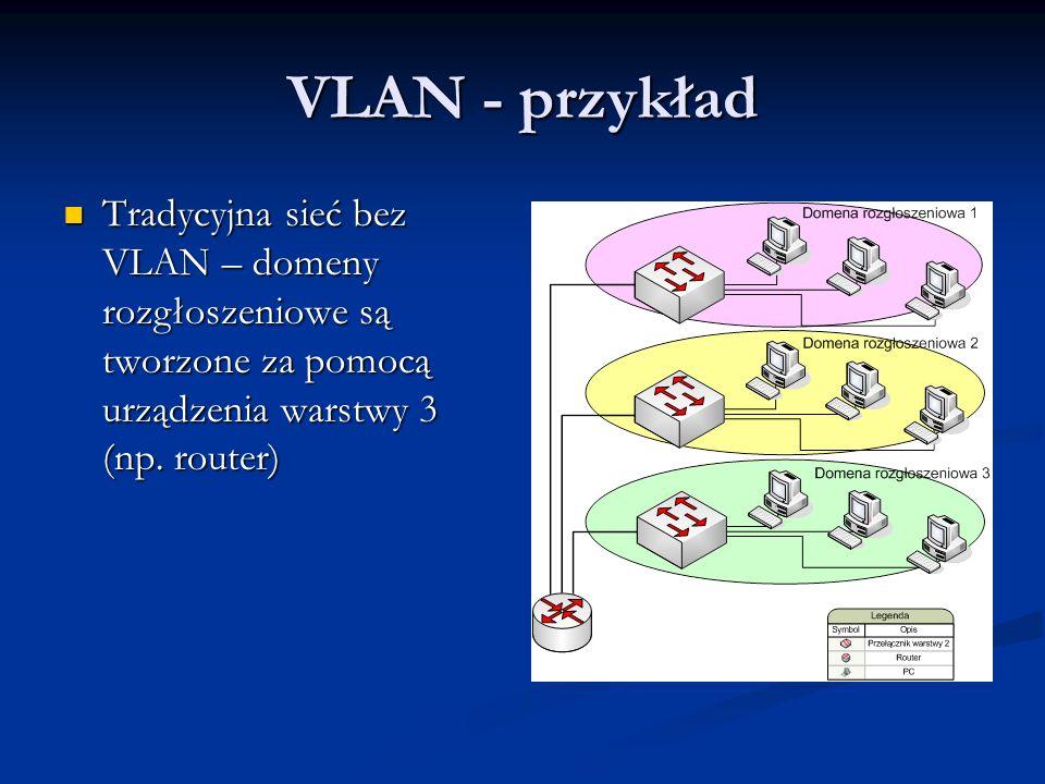 VLAN - przykład Tradycyjna sieć bez VLAN – domeny rozgłoszeniowe są tworzone za pomocą urządzenia warstwy 3 (np.