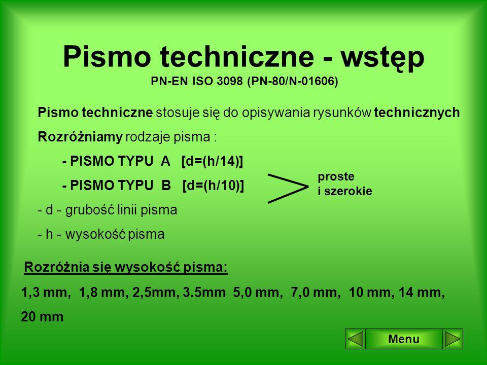 Pismo techniczne - wstęp PN-EN ISO 3098 (PN-80/N-01606)