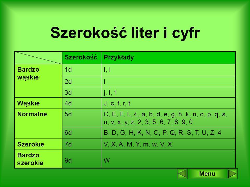 Szerokość liter i cyfr Szerokość Przykłady Bardzo wąskie 1d I, i 2d l
