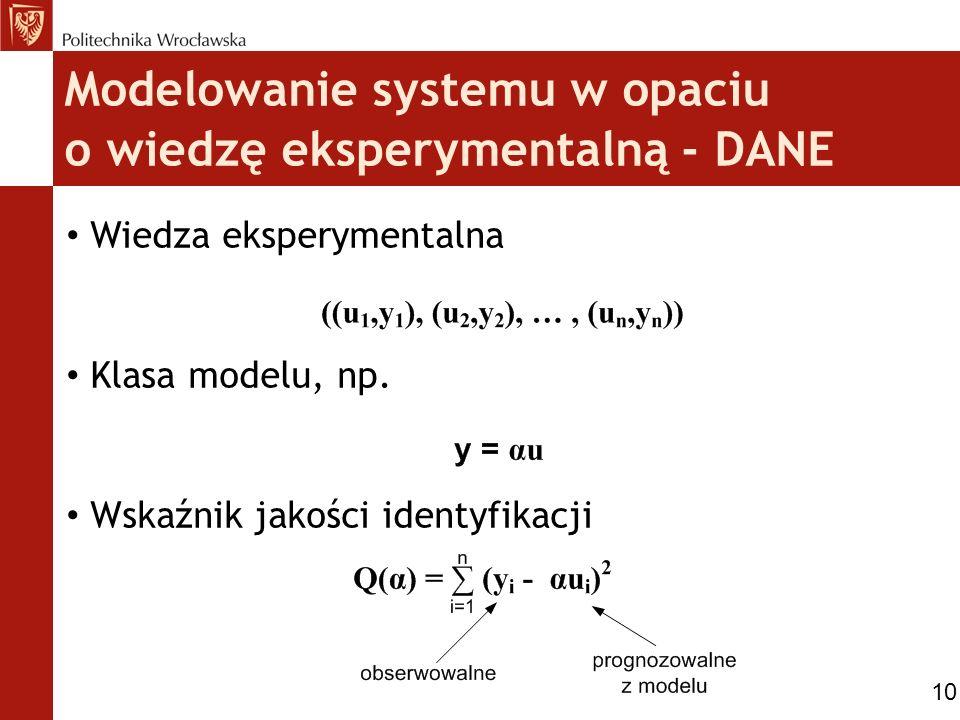 Modelowanie systemu w opaciu o wiedzę eksperymentalną - DANE