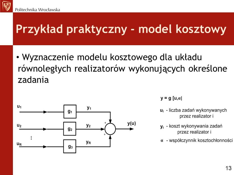 Przykład praktyczny - model kosztowy