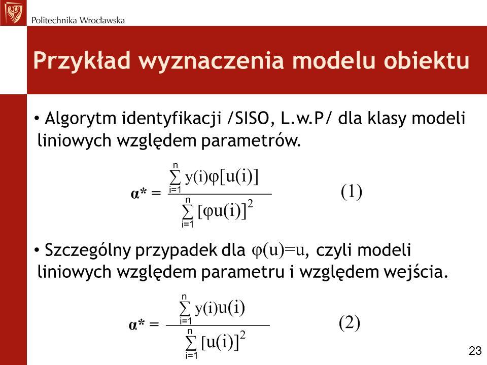 Przykład wyznaczenia modelu obiektu