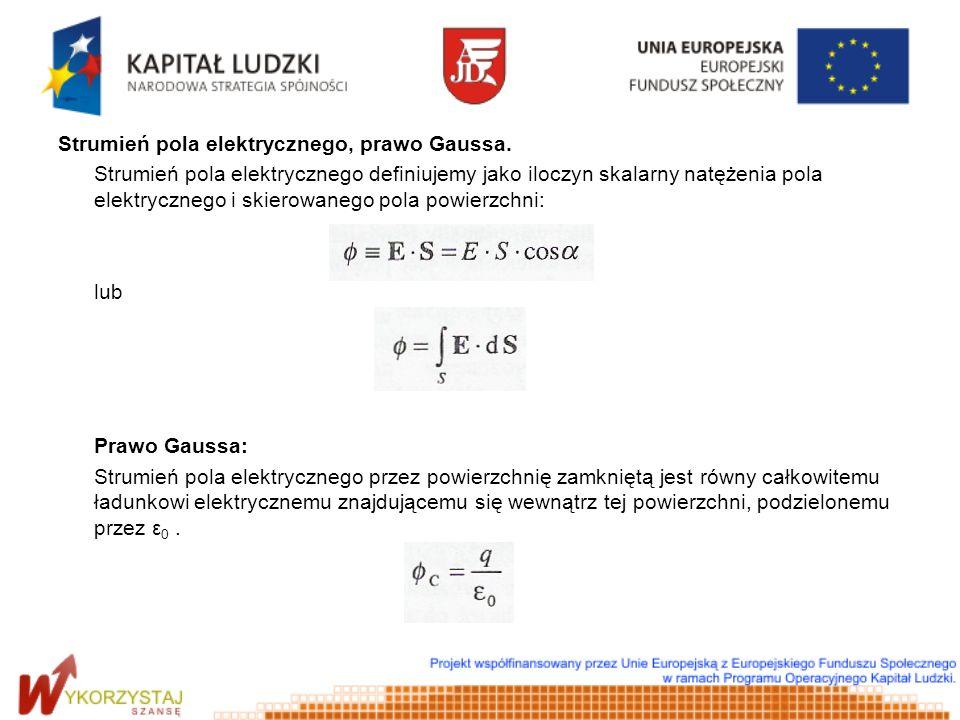 Strumień pola elektrycznego, prawo Gaussa.