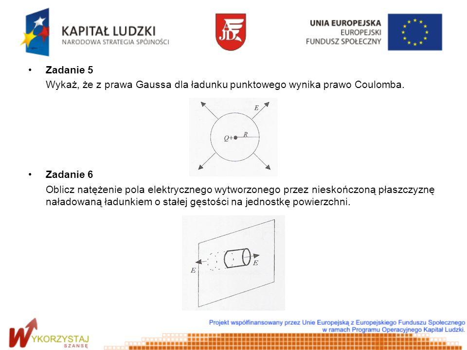 Zadanie 5 Wykaż, że z prawa Gaussa dla ładunku punktowego wynika prawo Coulomba. Zadanie 6.