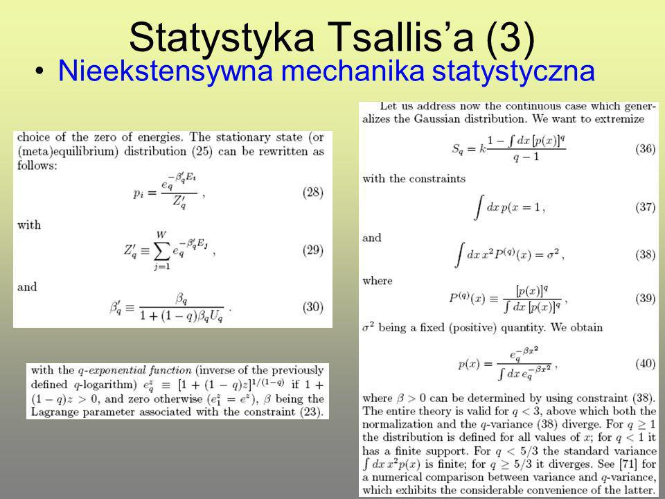 Statystyka Tsallis'a (3)