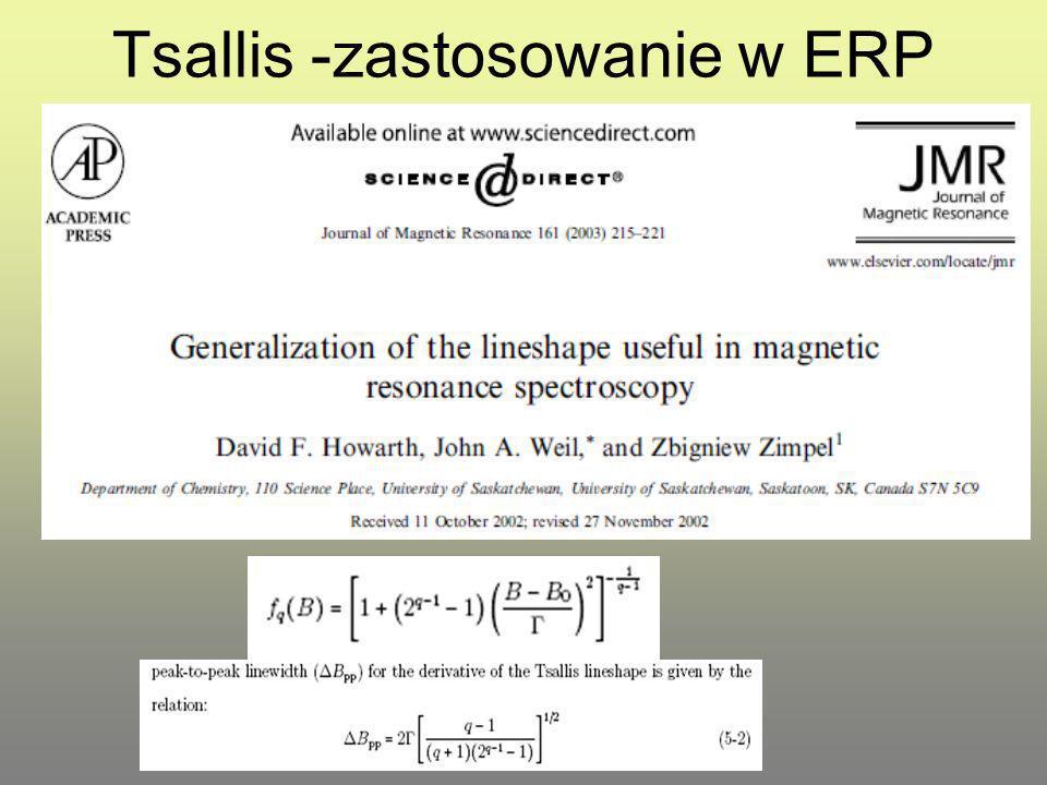 Tsallis -zastosowanie w ERP