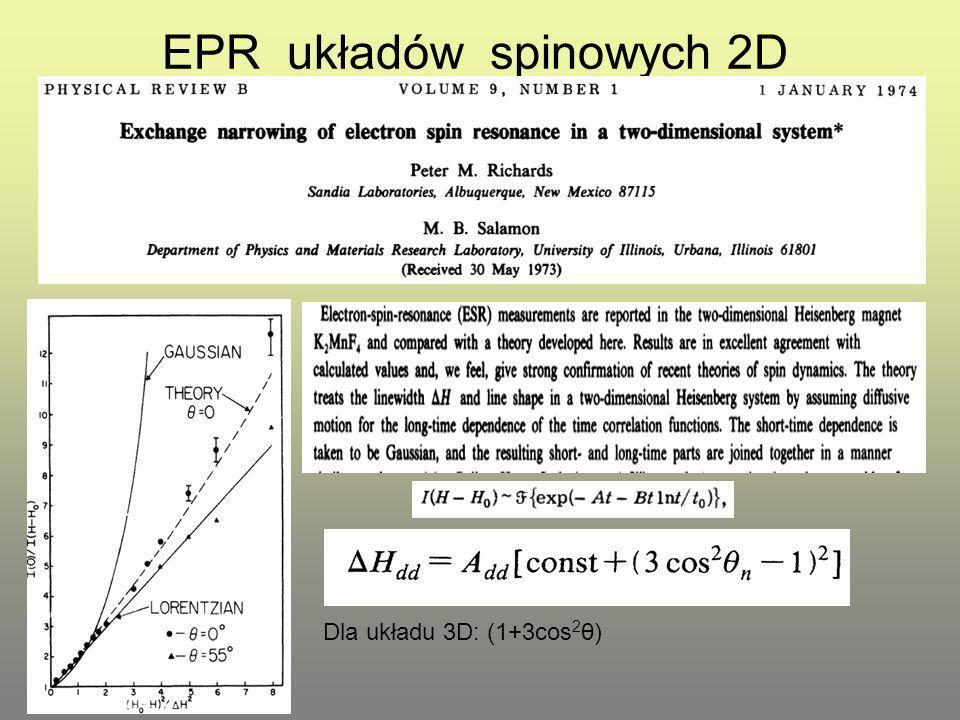 EPR układów spinowych 2D