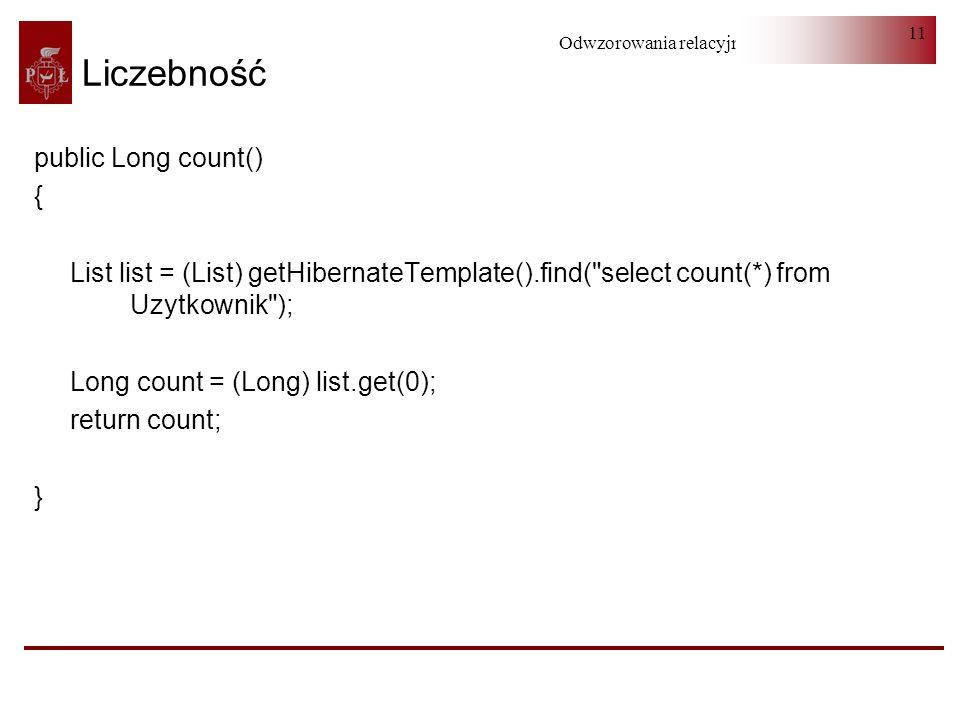 Liczebność public Long count() {