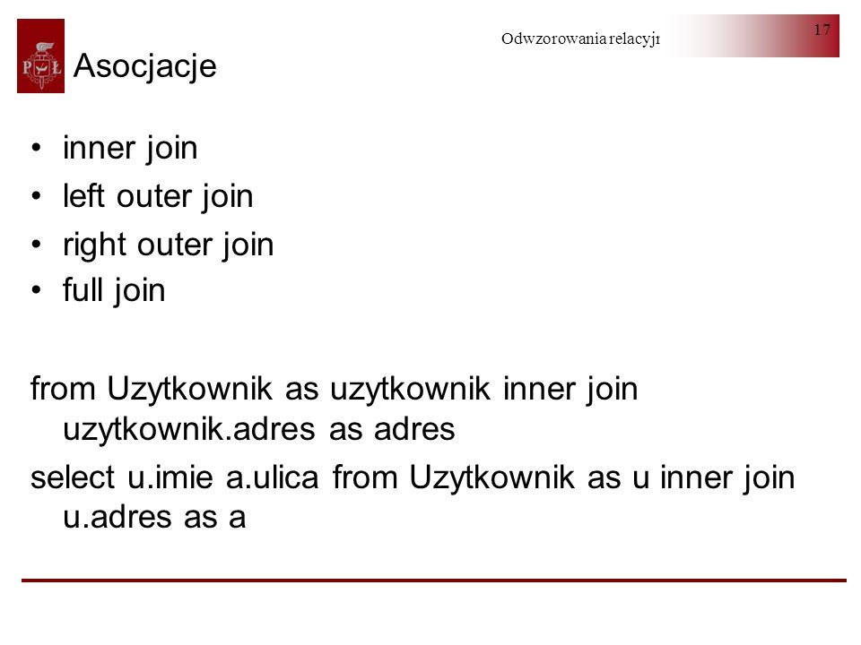 Asocjacjeinner join. left outer join. right outer join. full join. from Uzytkownik as uzytkownik inner join uzytkownik.adres as adres.