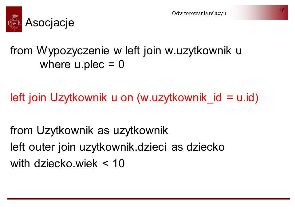 Asocjacje from Wypozyczenie w left join w.uzytkownik u where u.plec = 0. left join Uzytkownik u on (w.uzytkownik_id = u.id)