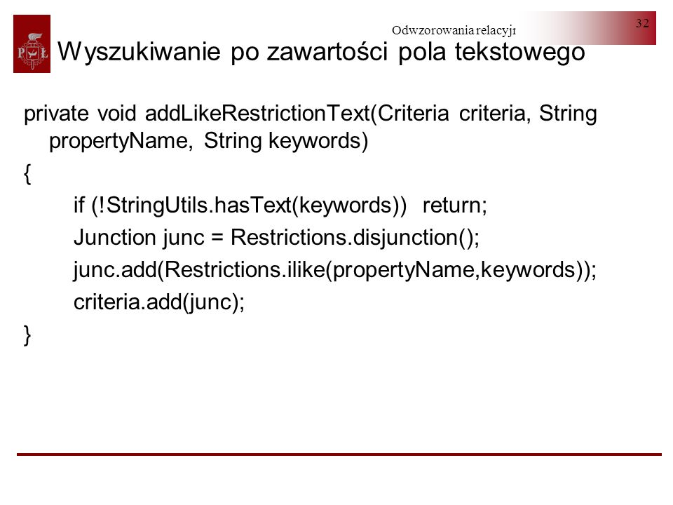 Wyszukiwanie po zawartości pola tekstowego