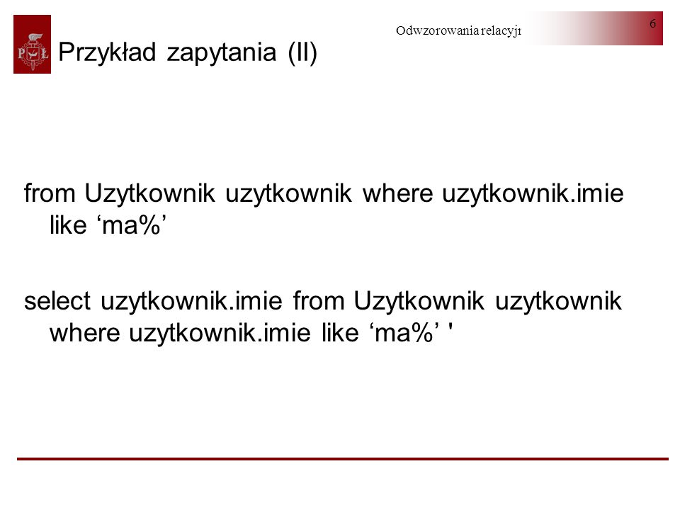 Przykład zapytania (II)