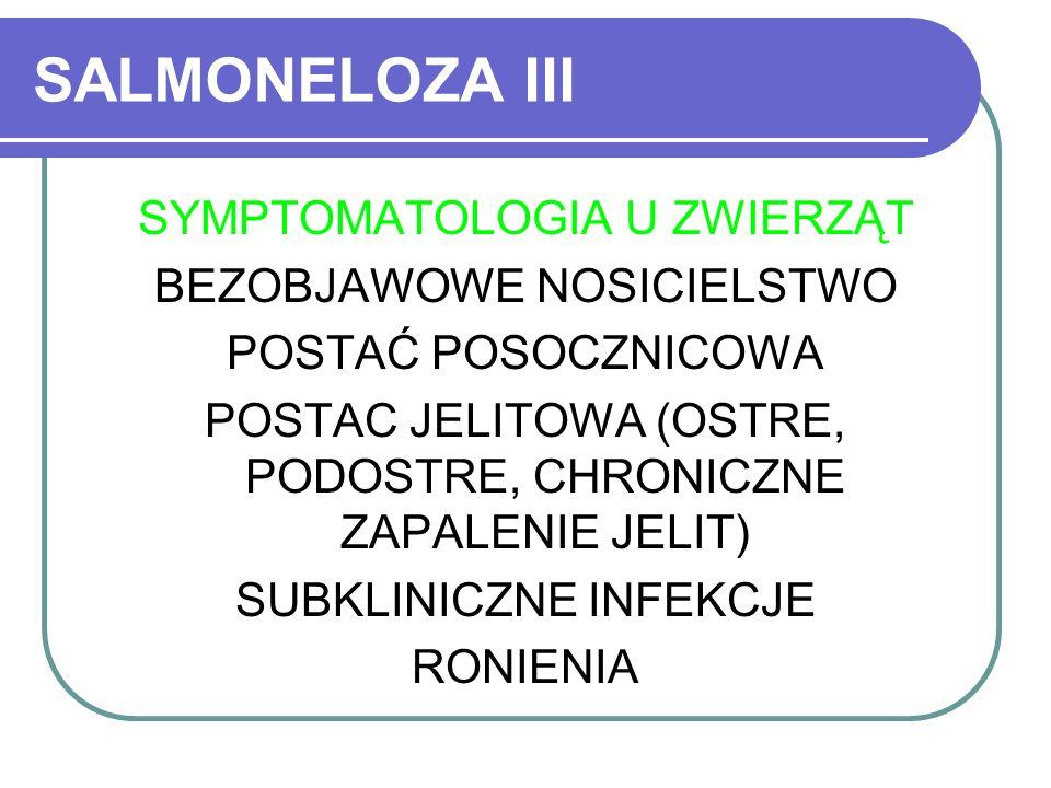 SALMONELOZA III SYMPTOMATOLOGIA U ZWIERZĄT BEZOBJAWOWE NOSICIELSTWO