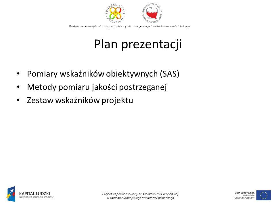 Plan prezentacji Pomiary wskaźników obiektywnych (SAS)