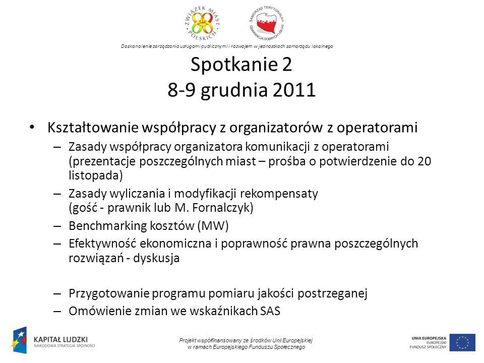 Spotkanie 2 8-9 grudnia 2011 Kształtowanie współpracy z organizatorów z operatorami.