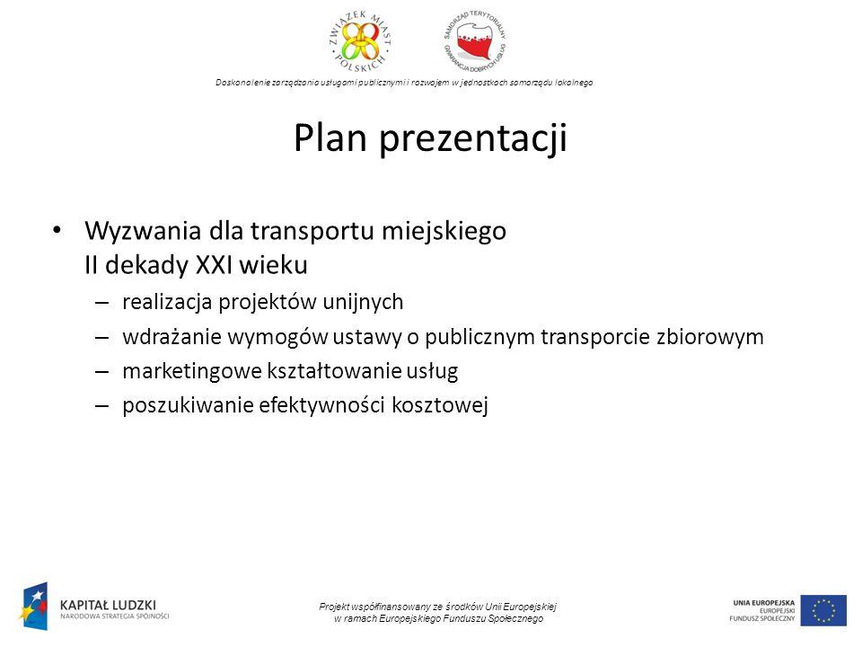Plan prezentacji Wyzwania dla transportu miejskiego II dekady XXI wieku. realizacja projektów unijnych.