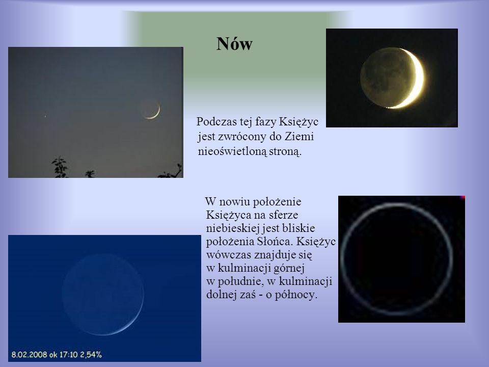 Nów Podczas tej fazy Księżyc jest zwrócony do Ziemi nieoświetloną stroną.