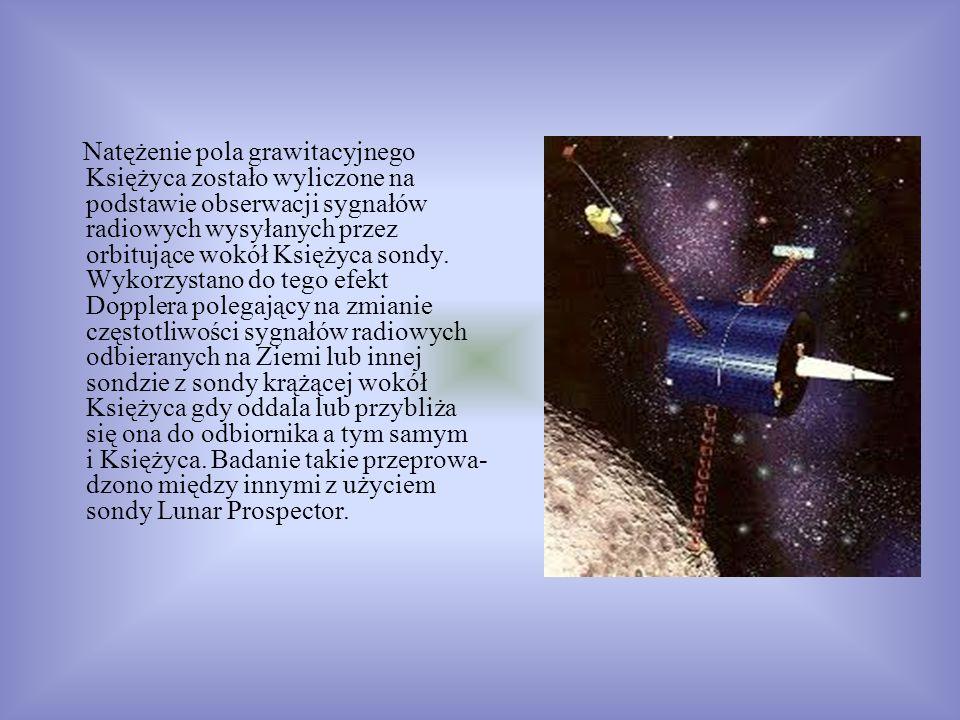 Natężenie pola grawitacyjnego Księżyca zostało wyliczone na podstawie obserwacji sygnałów radiowych wysyłanych przez orbitujące wokół Księżyca sondy.