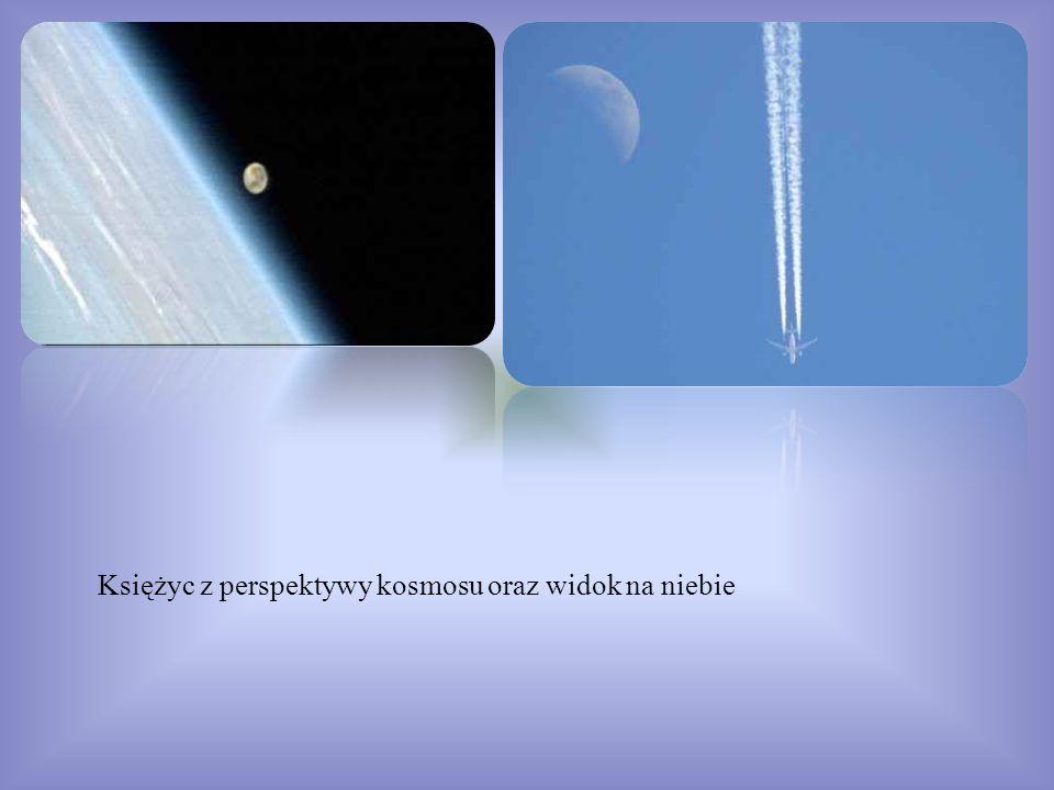 Księżyc z perspektywy kosmosu oraz widok na niebie