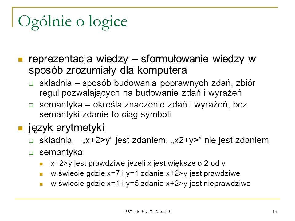 Ogólnie o logice reprezentacja wiedzy – sformułowanie wiedzy w sposób zrozumiały dla komputera.