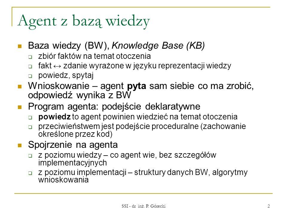 Agent z bazą wiedzy Baza wiedzy (BW), Knowledge Base (KB)