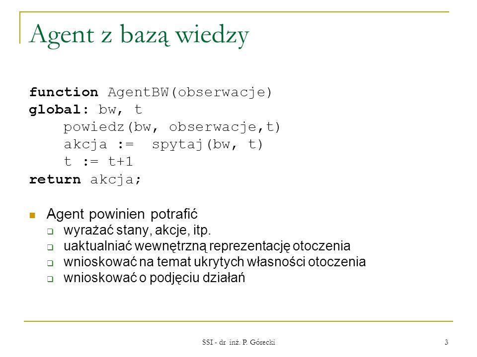 Agent z bazą wiedzy function AgentBW(obserwacje) global: bw, t