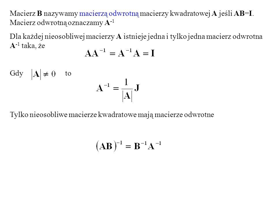 Macierz B nazywamy macierzą odwrotną macierzy kwadratowej A jeśli AB=I