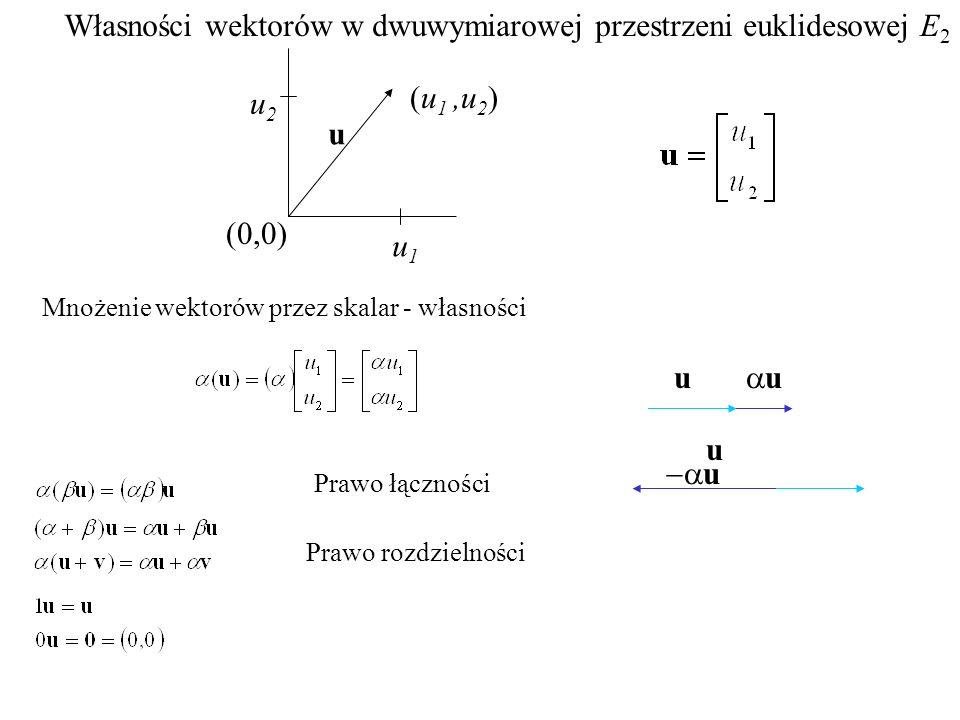 Własności wektorów w dwuwymiarowej przestrzeni euklidesowej E2