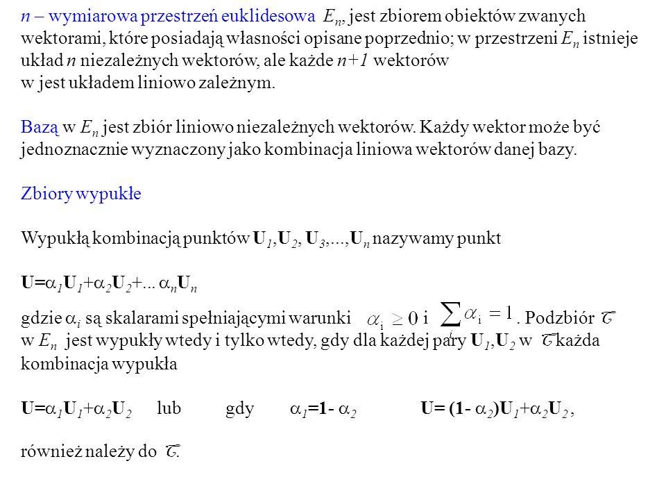 n – wymiarowa przestrzeń euklidesowa En, jest zbiorem obiektów zwanych