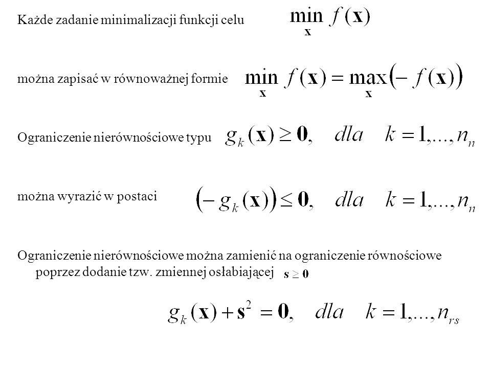 Każde zadanie minimalizacji funkcji celu