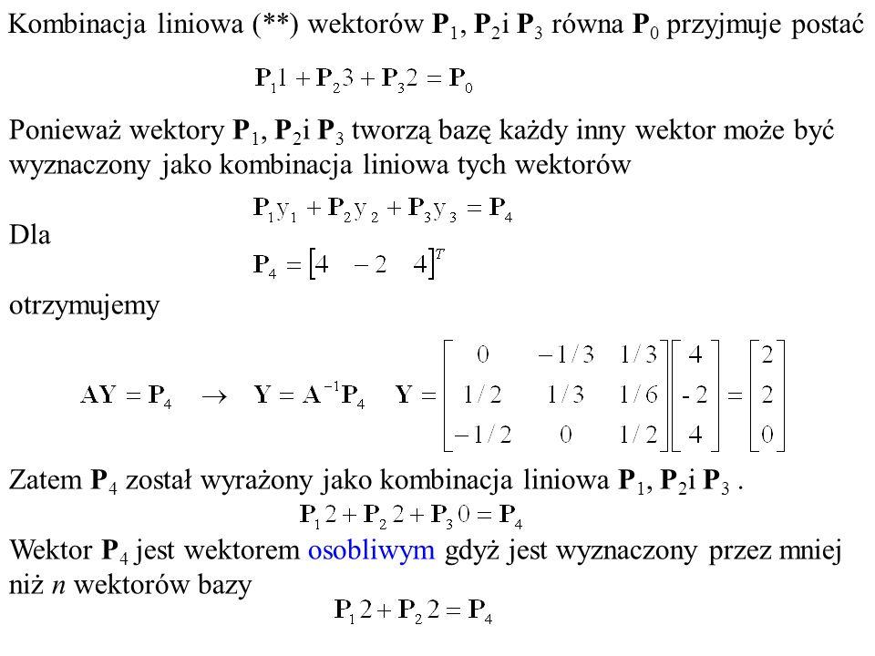 Kombinacja liniowa (**) wektorów P1, P2i P3 równa P0 przyjmuje postać