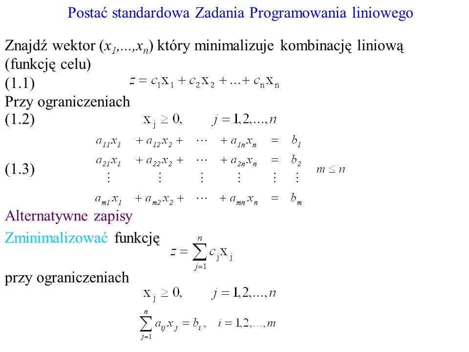 Postać standardowa Zadania Programowania liniowego