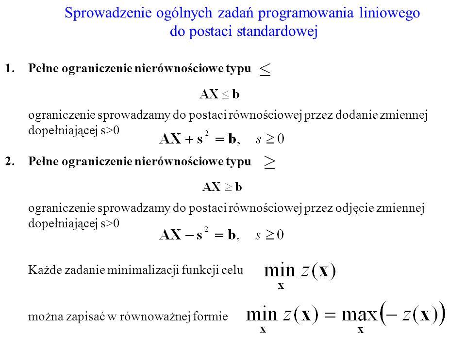 Sprowadzenie ogólnych zadań programowania liniowego