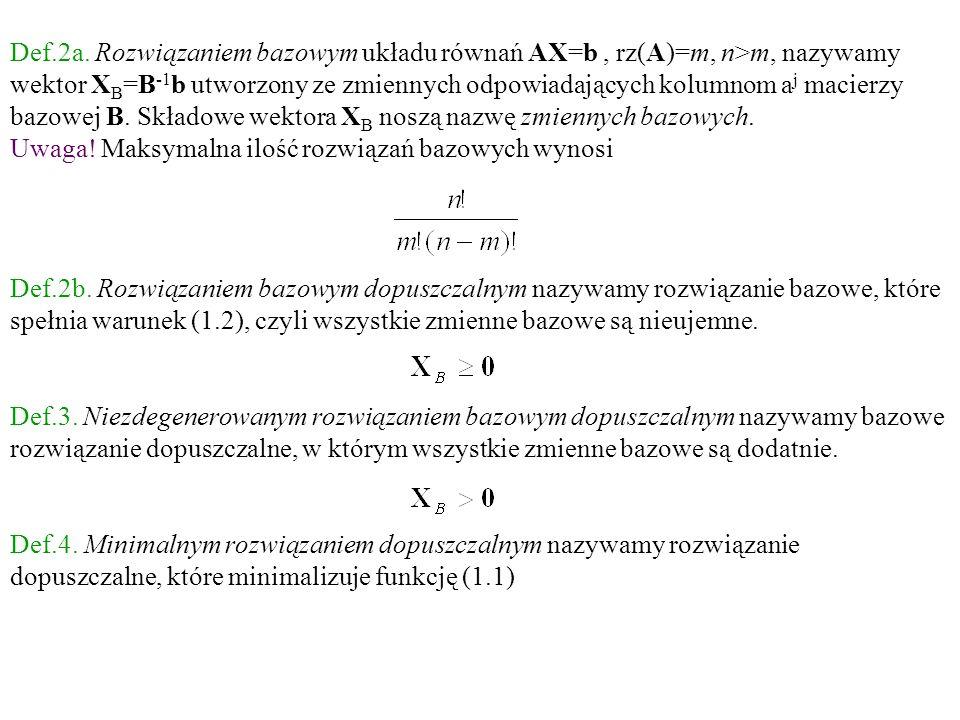 Def.2a. Rozwiązaniem bazowym układu równań AX=b , rz(A)=m, n>m, nazywamy