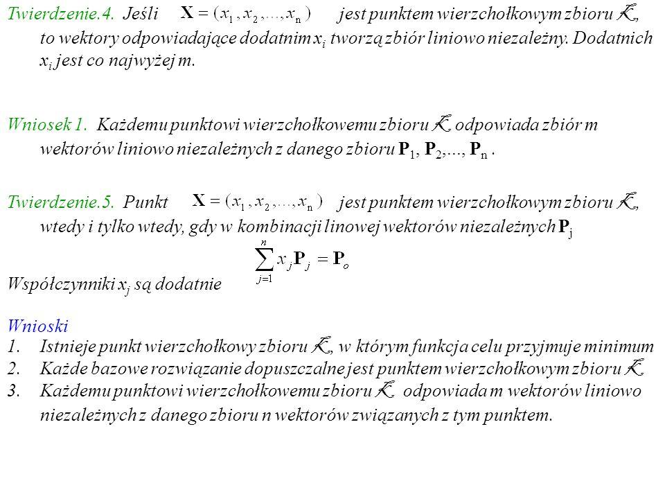 Twierdzenie.4. Jeśli jest punktem wierzchołkowym zbioru K, to wektory odpowiadające dodatnim xi tworzą zbiór liniowo niezależny. Dodatnich xi jest co najwyżej m.