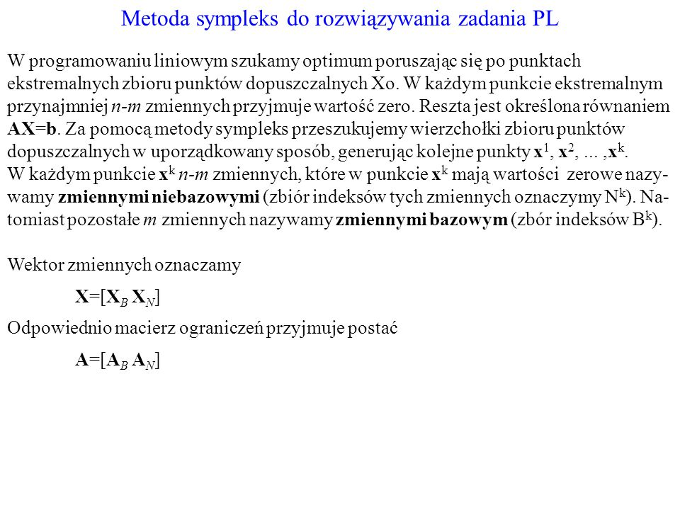 Metoda sympleks do rozwiązywania zadania PL